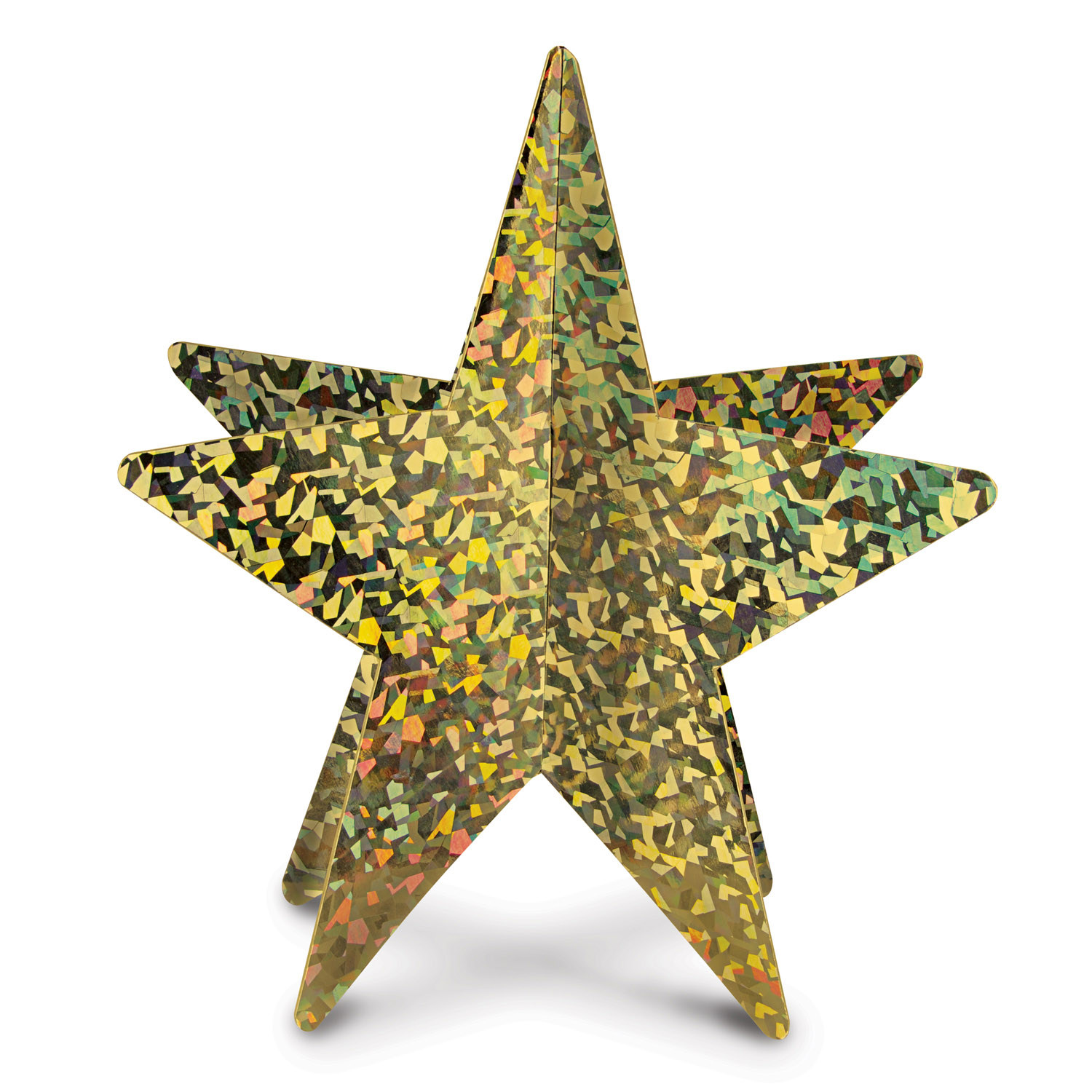 Gold prismatic card stock star designed in 3-D.