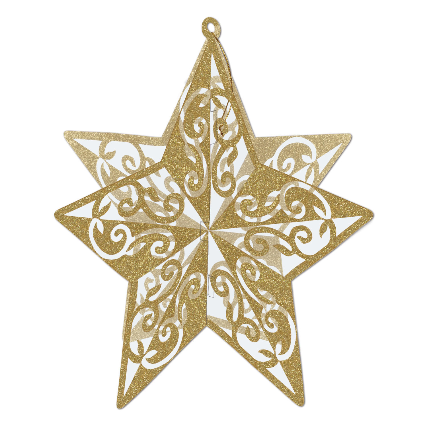 Gold glittered star cutout with accents and created to look 3-D.