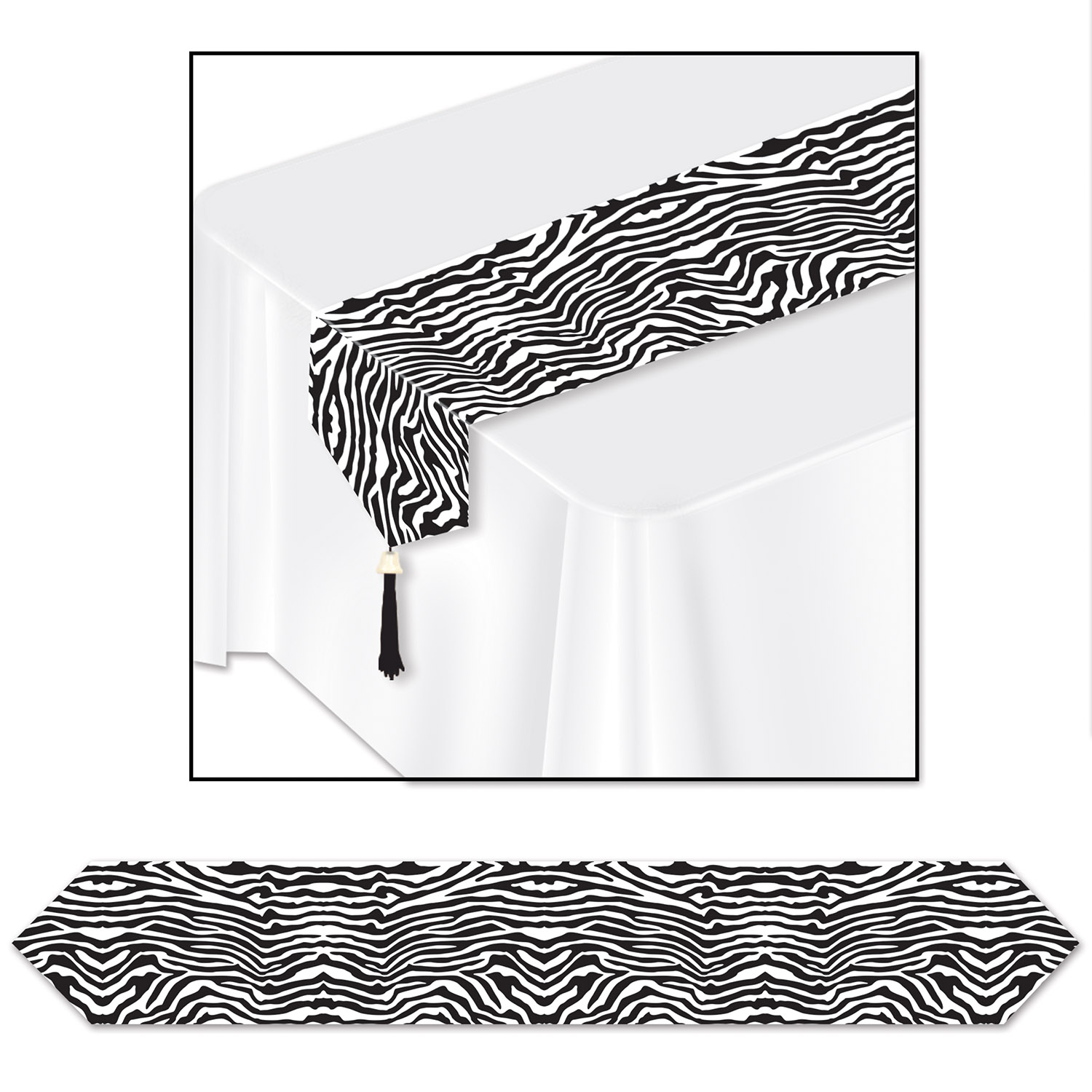 zebra printed table runner with a black tassel