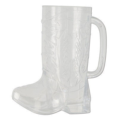 plastic mug in the shape of a cowboy boot