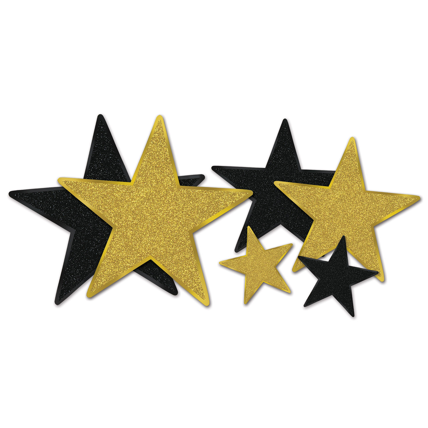 Assorted sized star cutouts in black and gold with glitter.