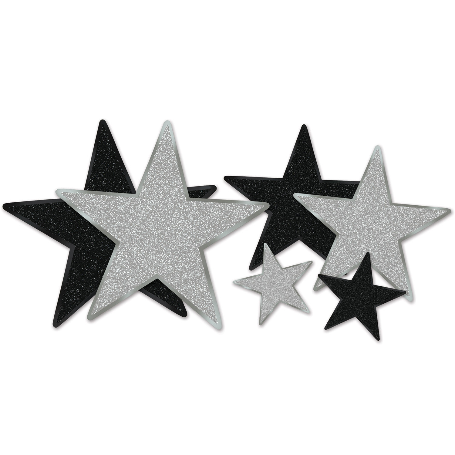 Assorted sized star cutouts in black and silver with glitter.