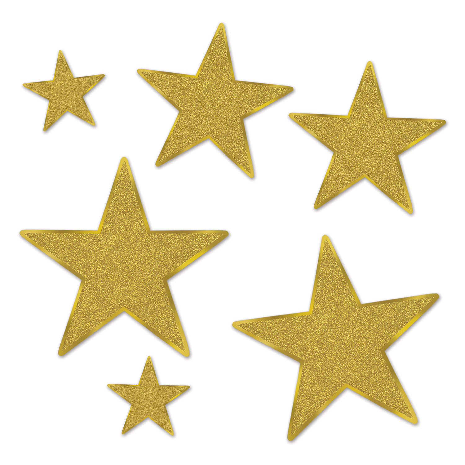 Assorted sized gold star cutouts with glitter.