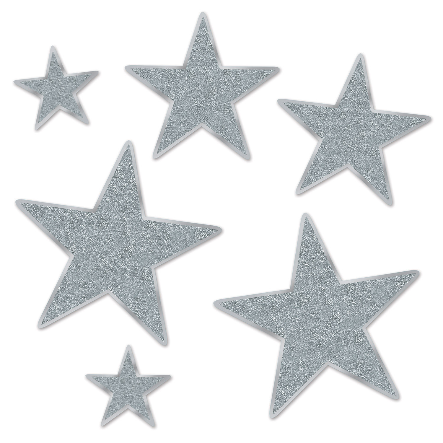 Assorted sized silver star cutouts with glitter.