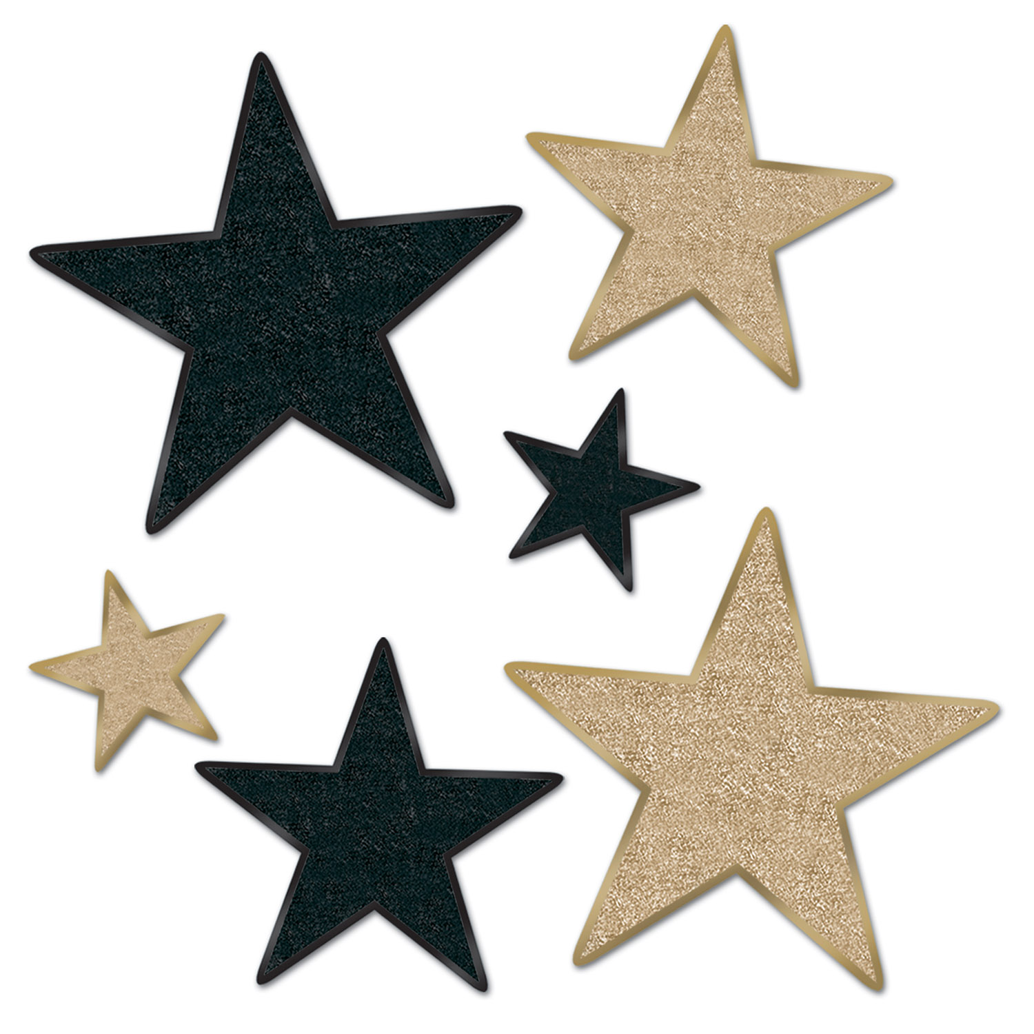 Assorted sized star cutouts with glitter.