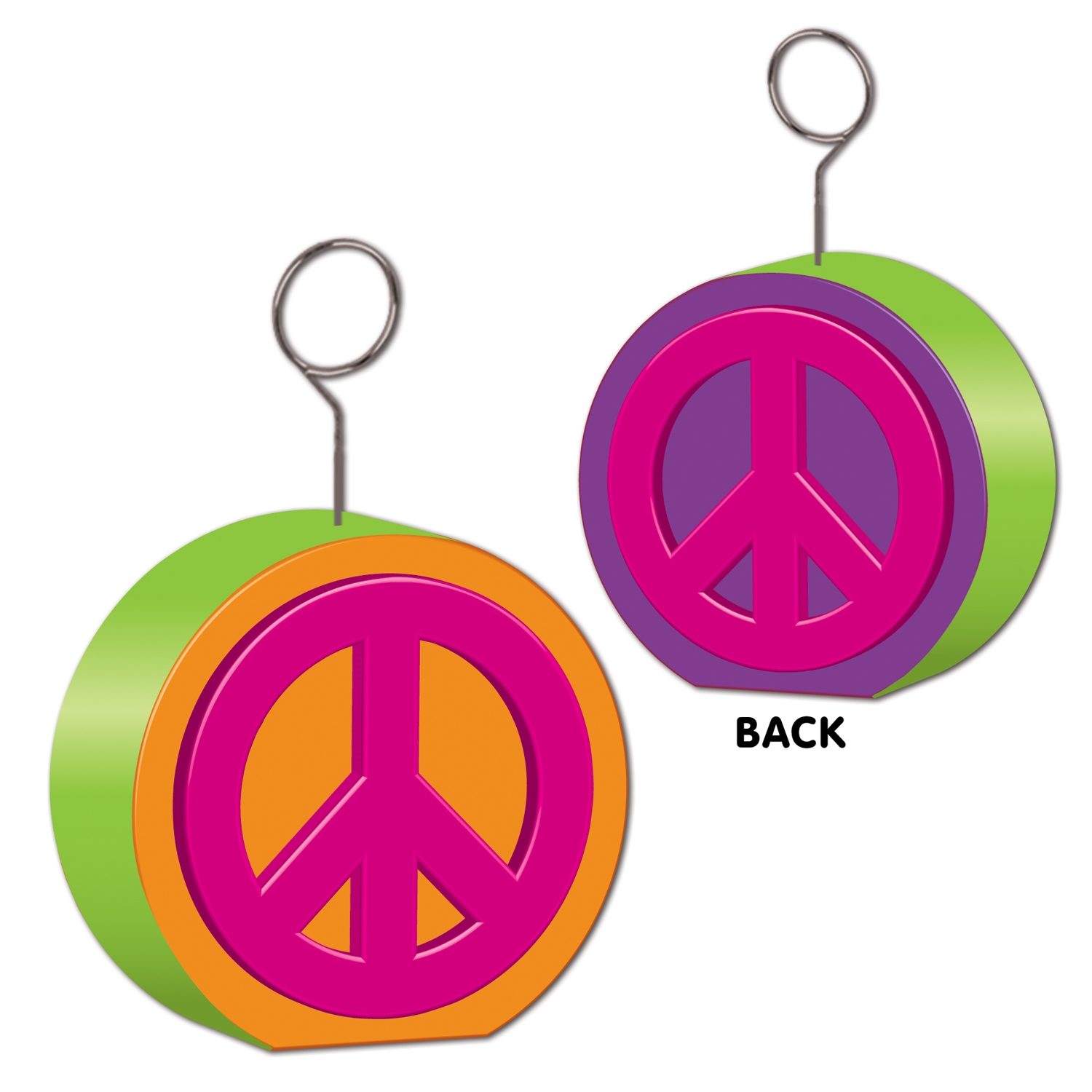 peace sign balloon holders in 1960s colors