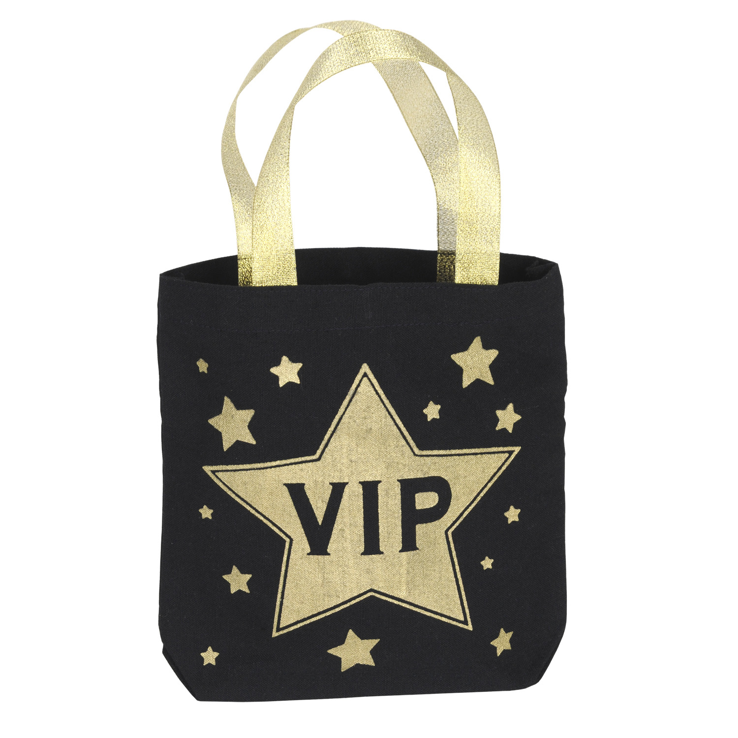 favor bag with gold stars and VIP written inside a large star