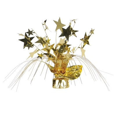 Weighed down gold centerpiece with cascading metallic strands and wired stars.