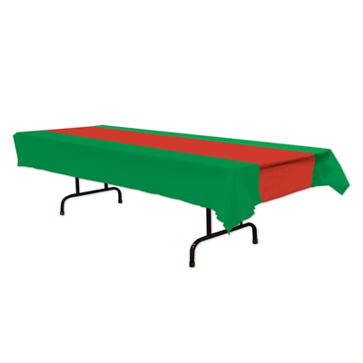 red and green plastic table cover