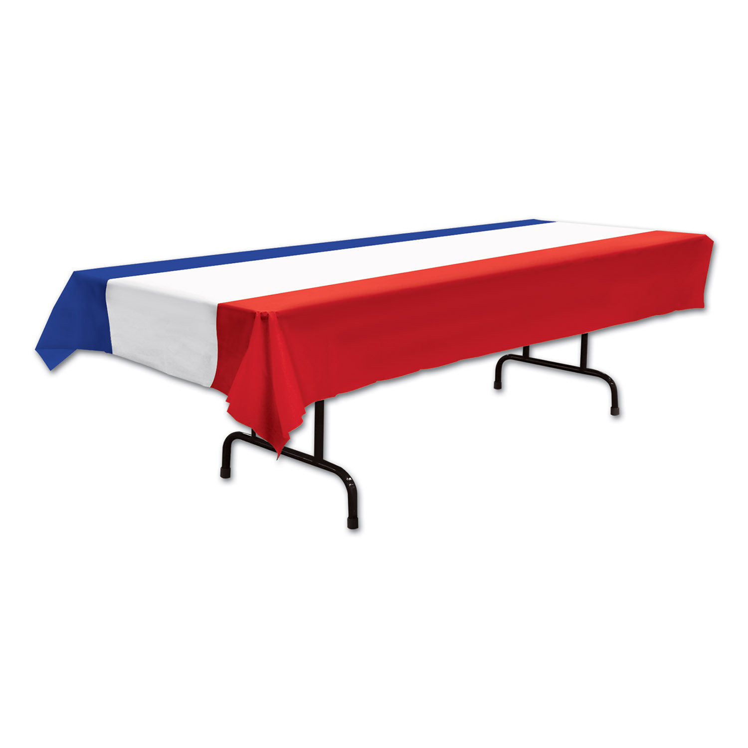 red white and blue striped plastic table cover