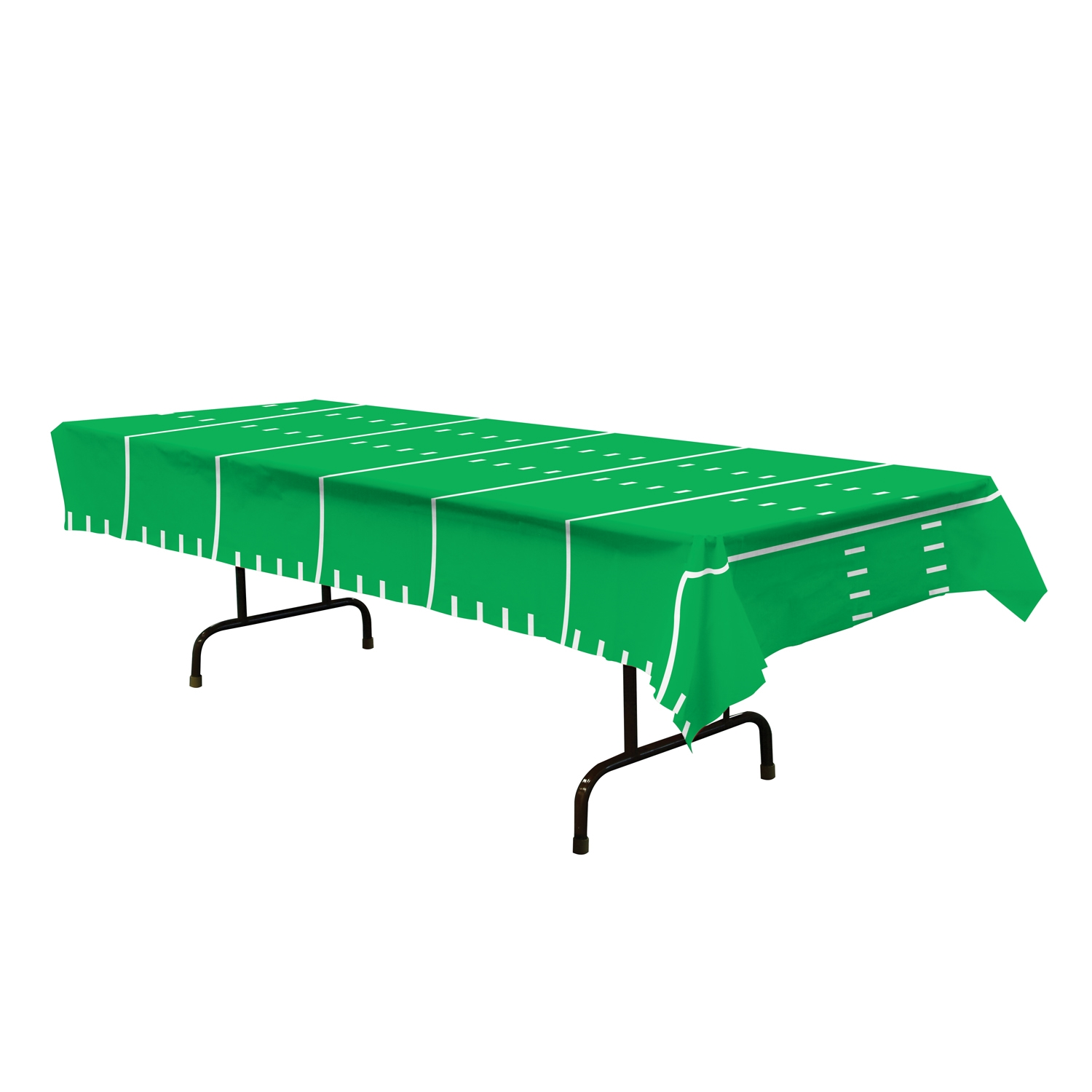green plastic table cover that looks like a football field