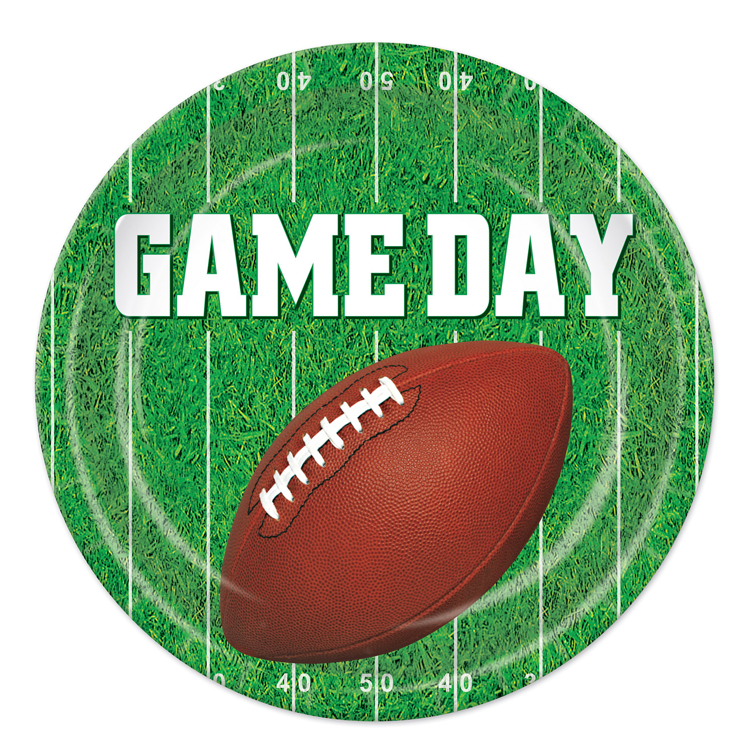 paper plates that have a football on them and read game day with a grass football field background
