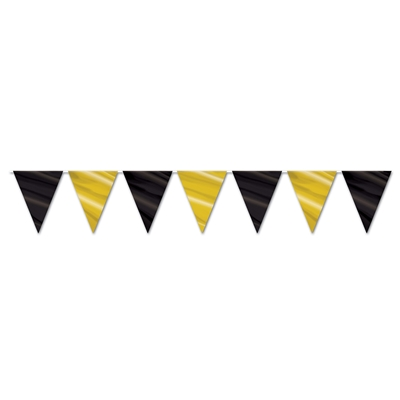 Streamer with black and gold pennants.