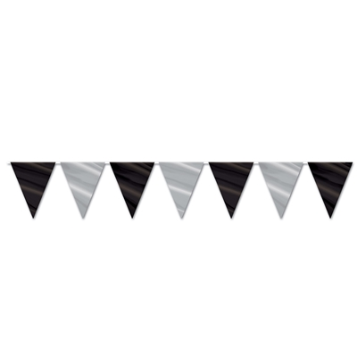 Streamer with black and silver pennants.