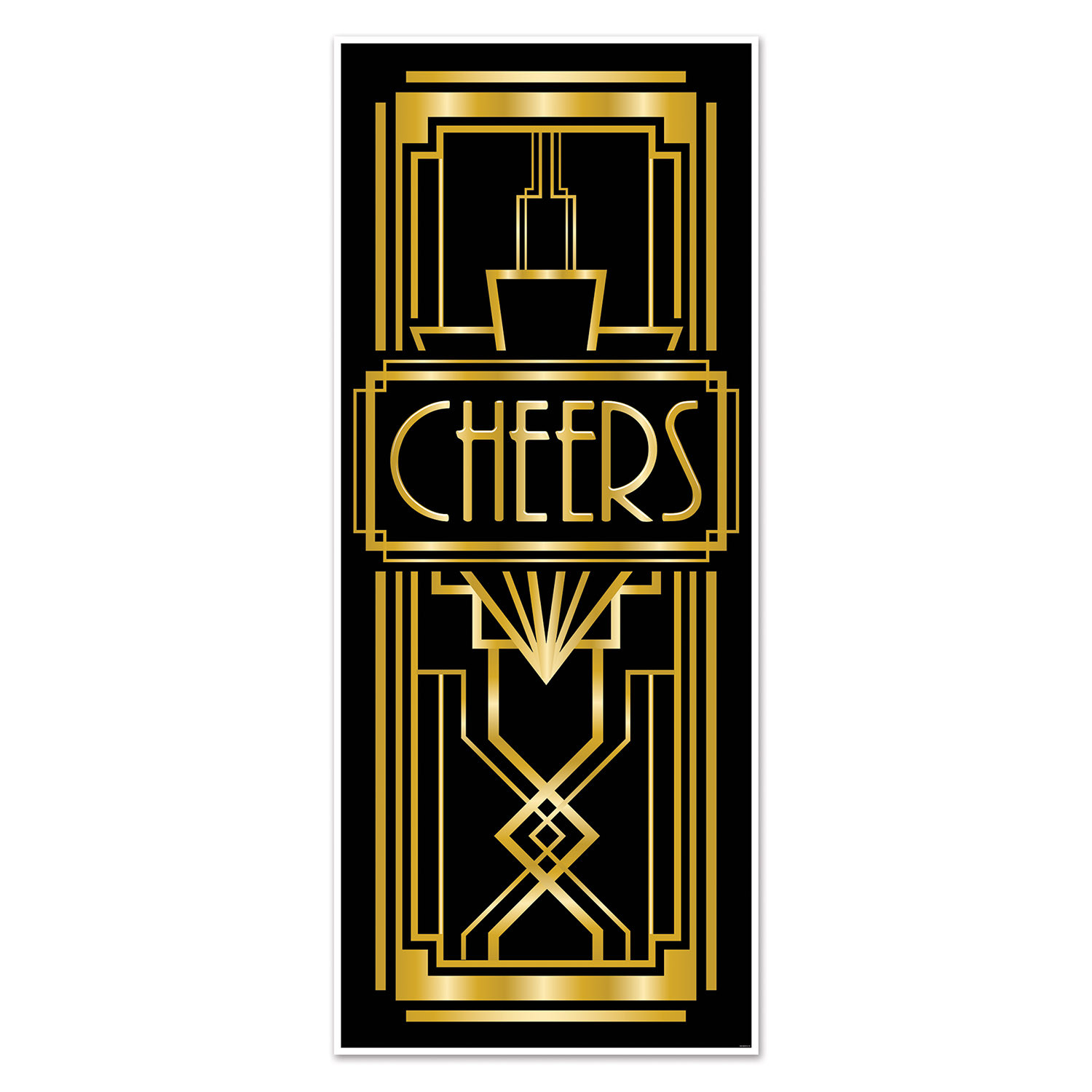 "Door cover with a black background and gold accents with the word ""cheers""."