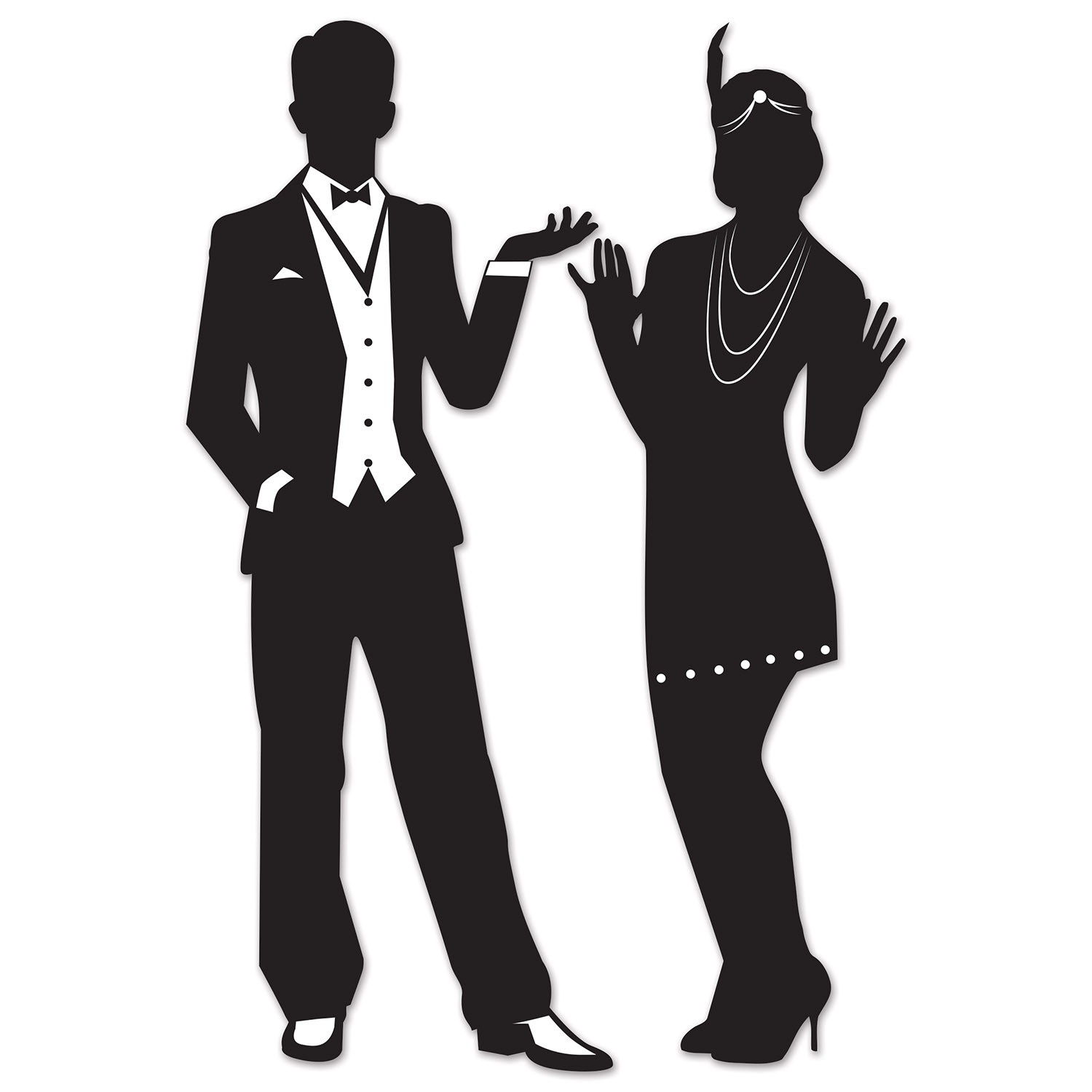 Black 20s silhouette of a male and female dressed up for a party.