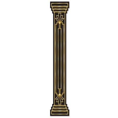 Black column cutout with gold accents.