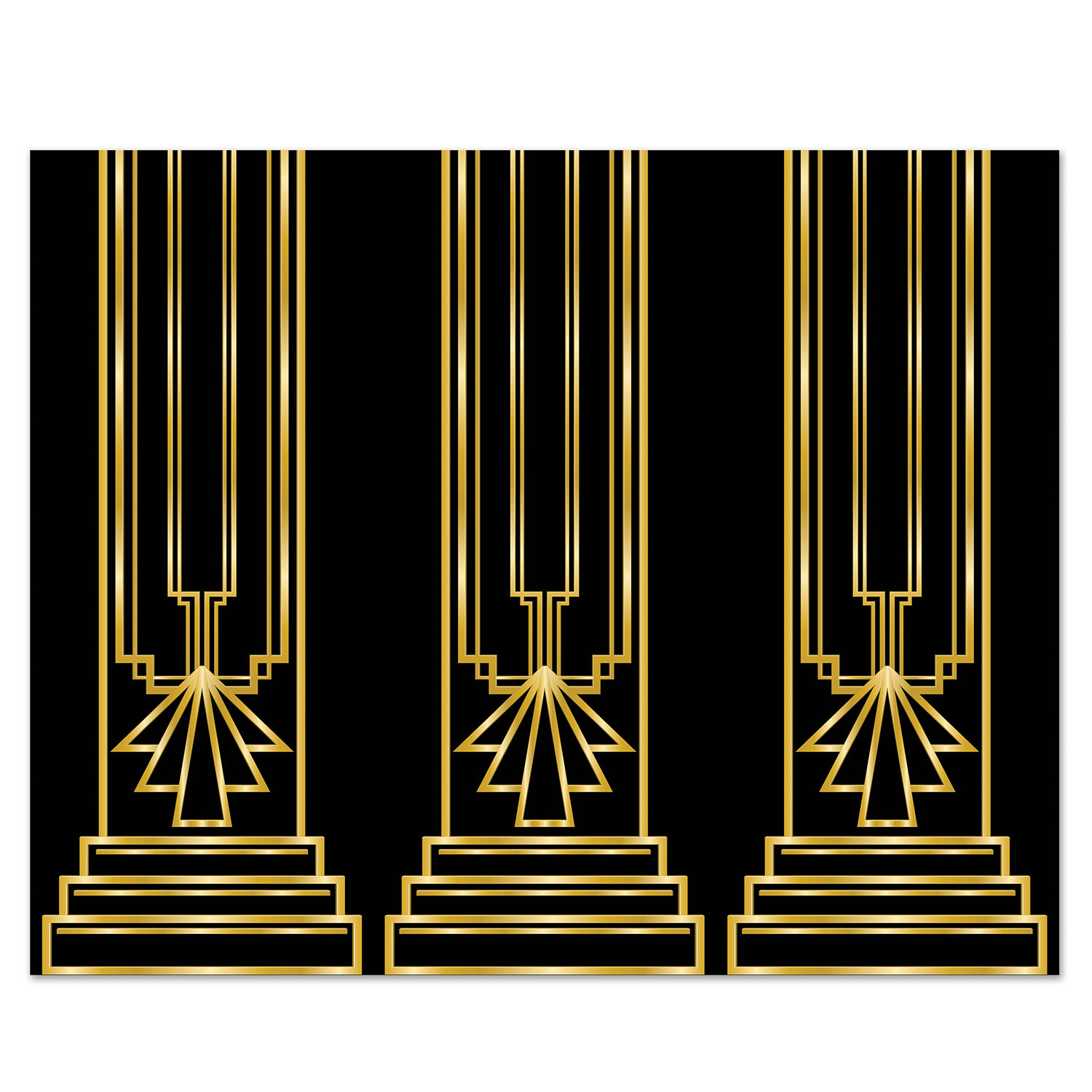 Wall back drop with a black back ground and gold outlined columns.