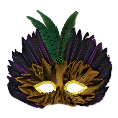 Fathered mask with gold sequins outlining the eyes, brown feathers around the eyes black and purple feathers above the brown and three green feathers at the forehead.