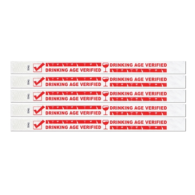 "Waterproof white wristband that reads ""drinking age verified"" in red."
