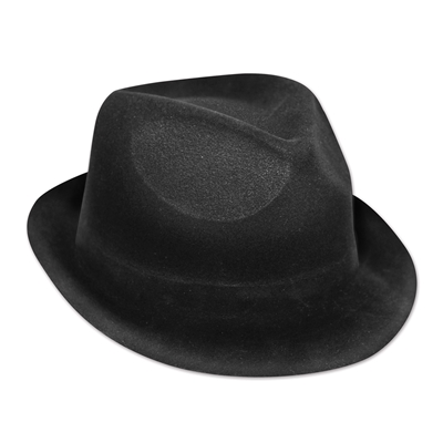 Plastic molded, velour coated, black fedora hat.