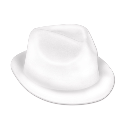Plastic molded, velour coated, white fedora hat.