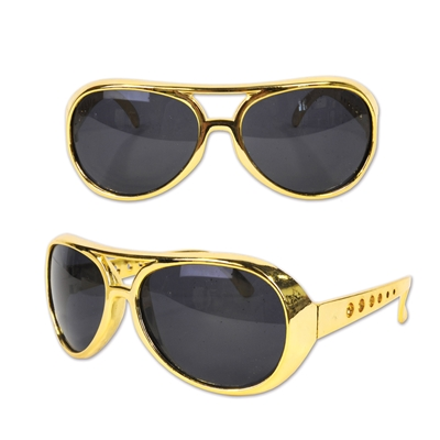 Retro 1950s themed golden glasses.