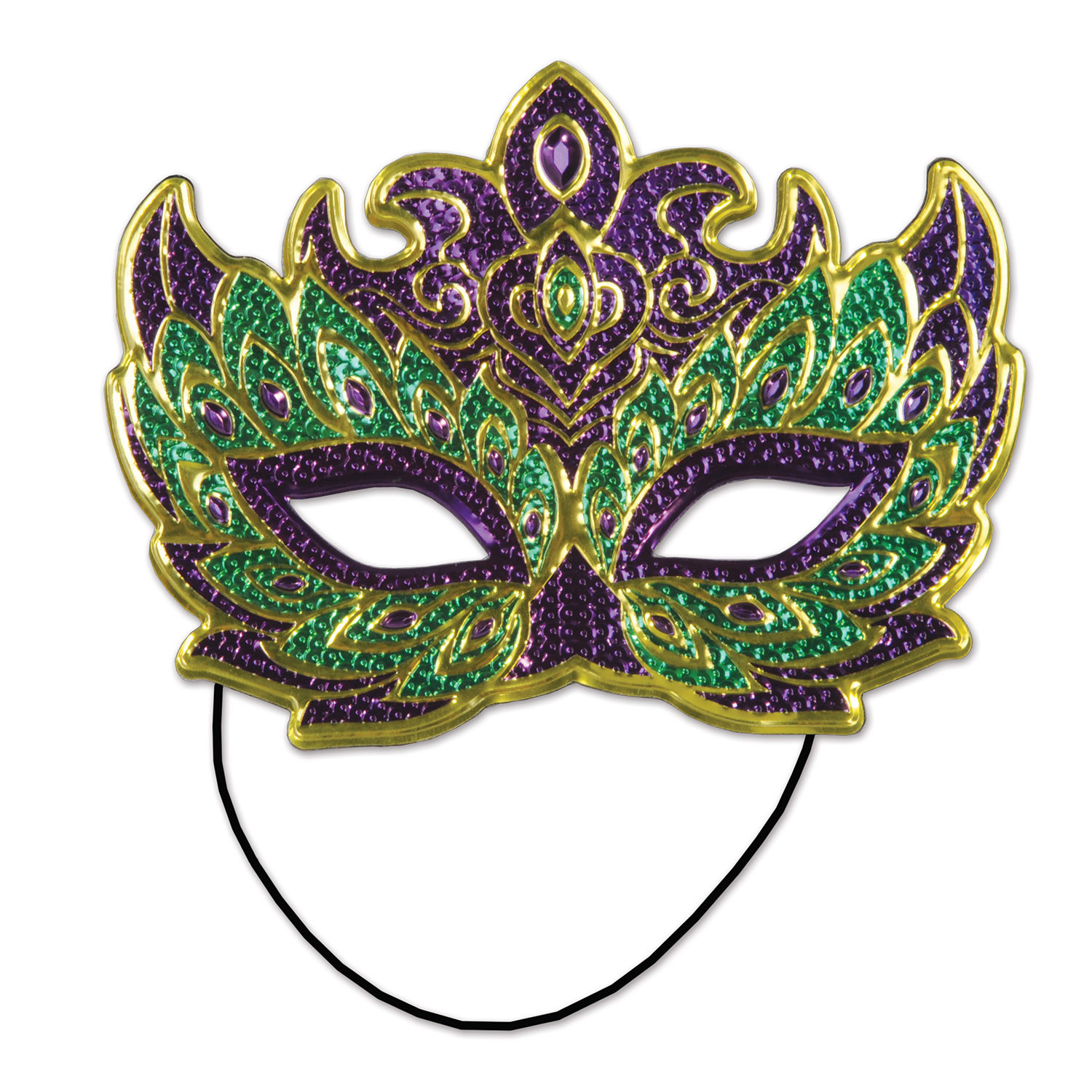green gold and purple mask with a band