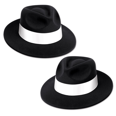 Plastic molded fedoras with a velour coating and white card stock band.
