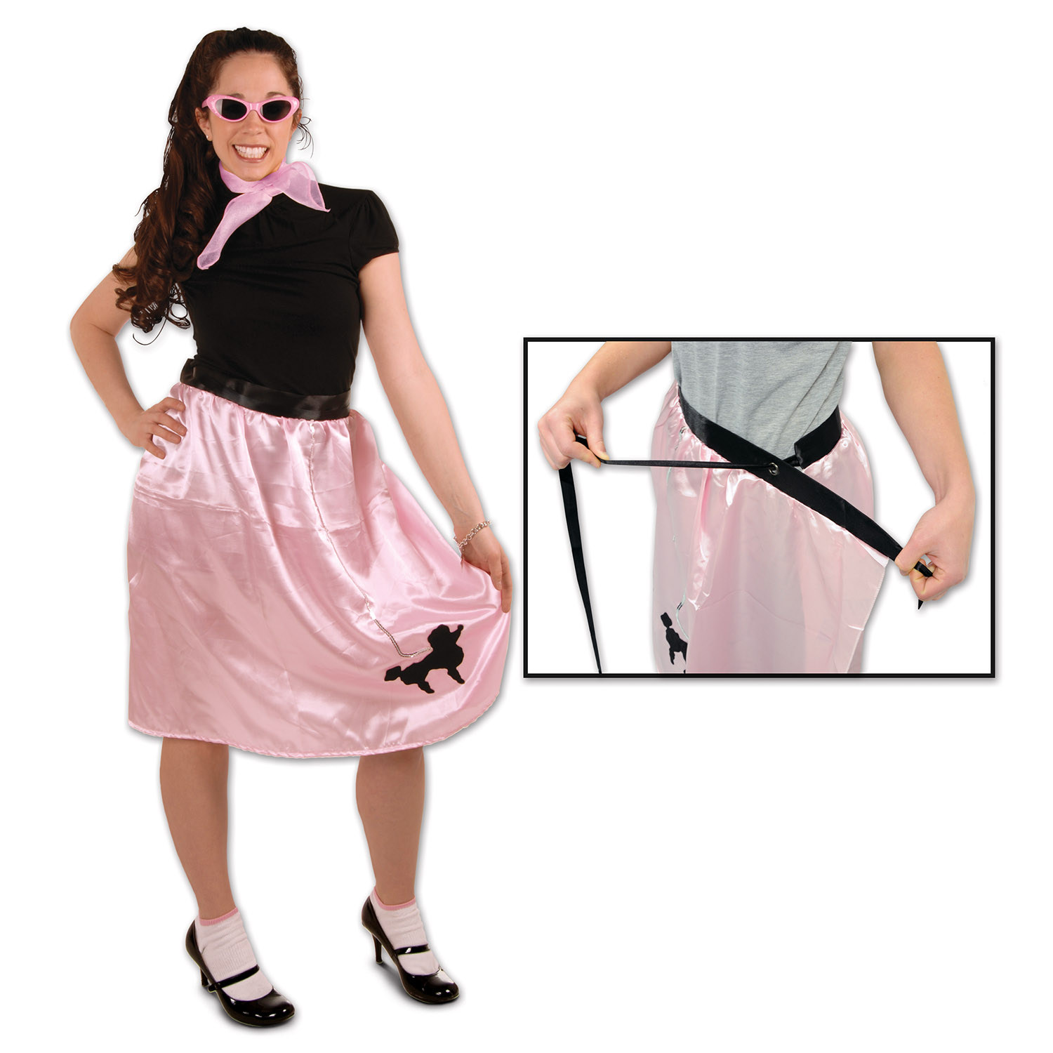 1950s style pink poodle skirt