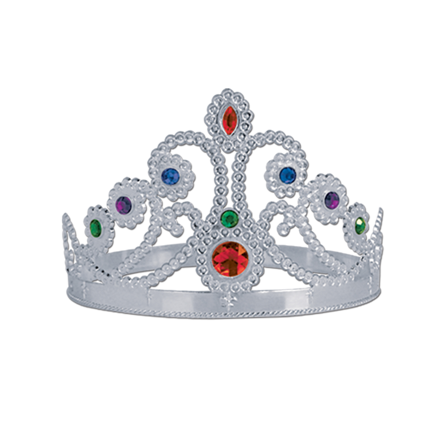 silver queens tiaras with bright colored jewels
