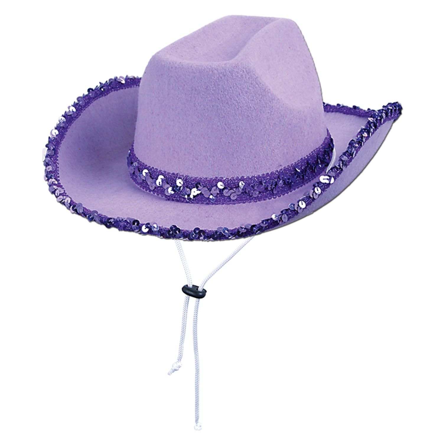 Purple felt cowgirl hat with purple sequined embelishments.