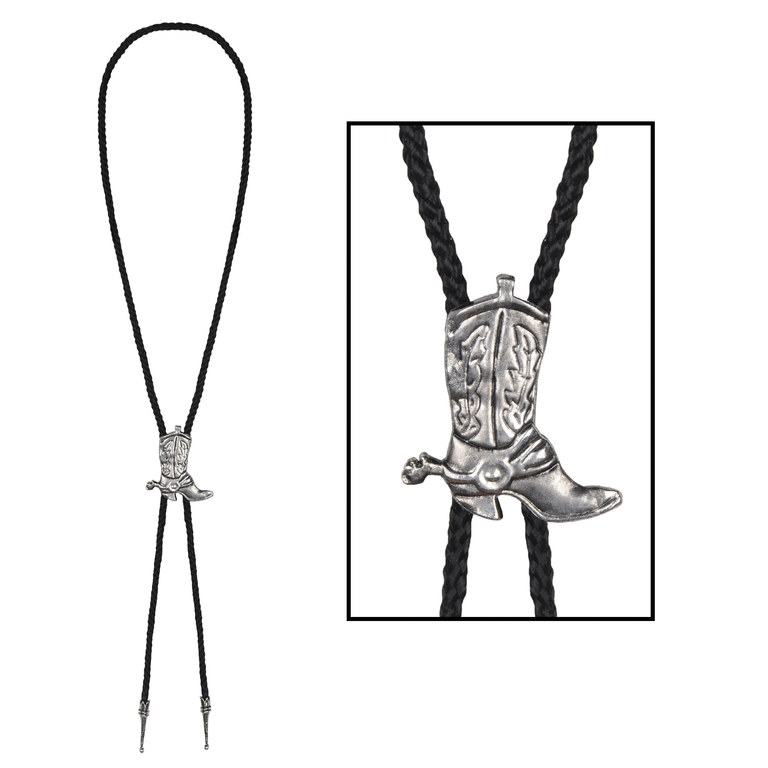 shoelace western bolo tie with a cowboy boot clasp