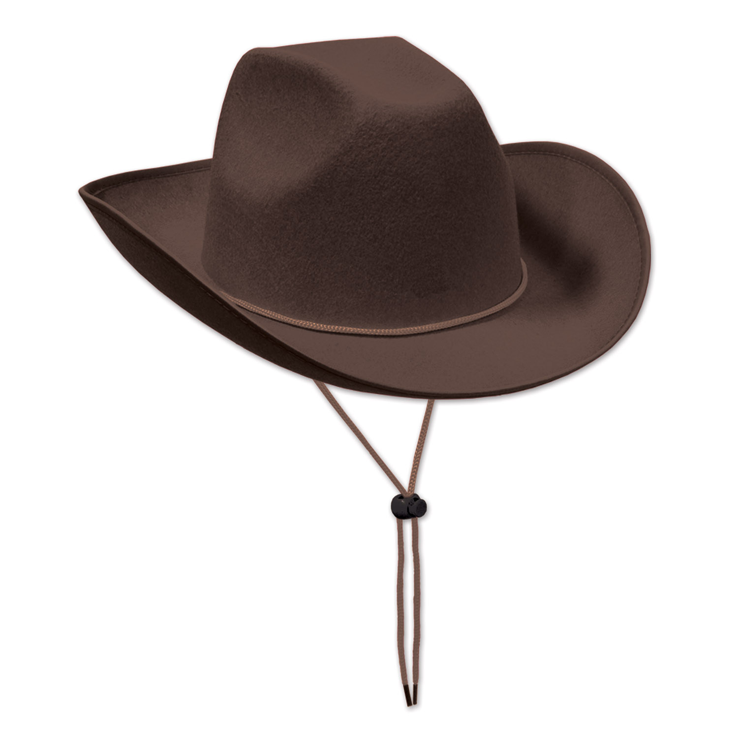 Brown felt western cowboy hat with drawstring.