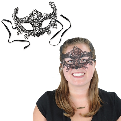Black lace mask with black ribbon attached.