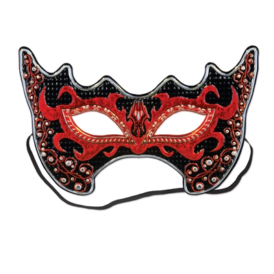 Red and black pointed mask with red jaggared design around the eyes.