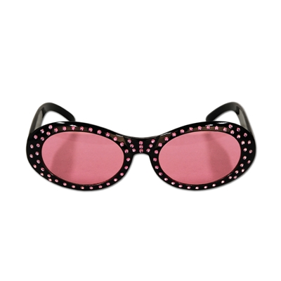 pink and black diva eye glasses with jewels around the frame