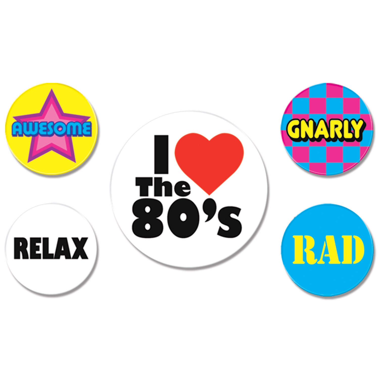 1980s buttons that say I love the 80s, gnarly, rad, relax