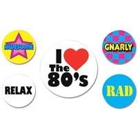 1980's buttons that say I love the 80's, gnarly, rad, relax