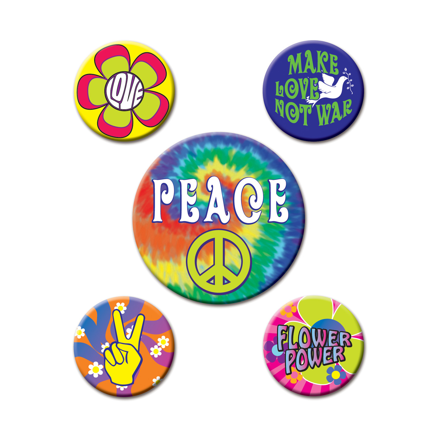 1960s peace buttons that are tie-dye