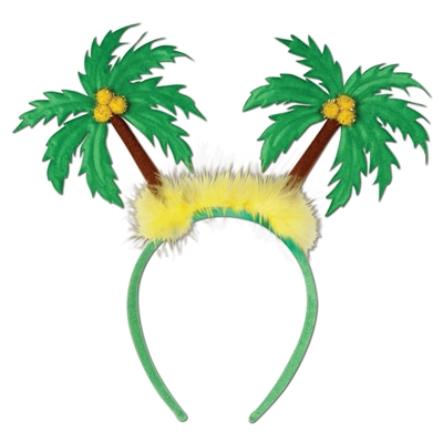headband boppers with green palm trees on the top