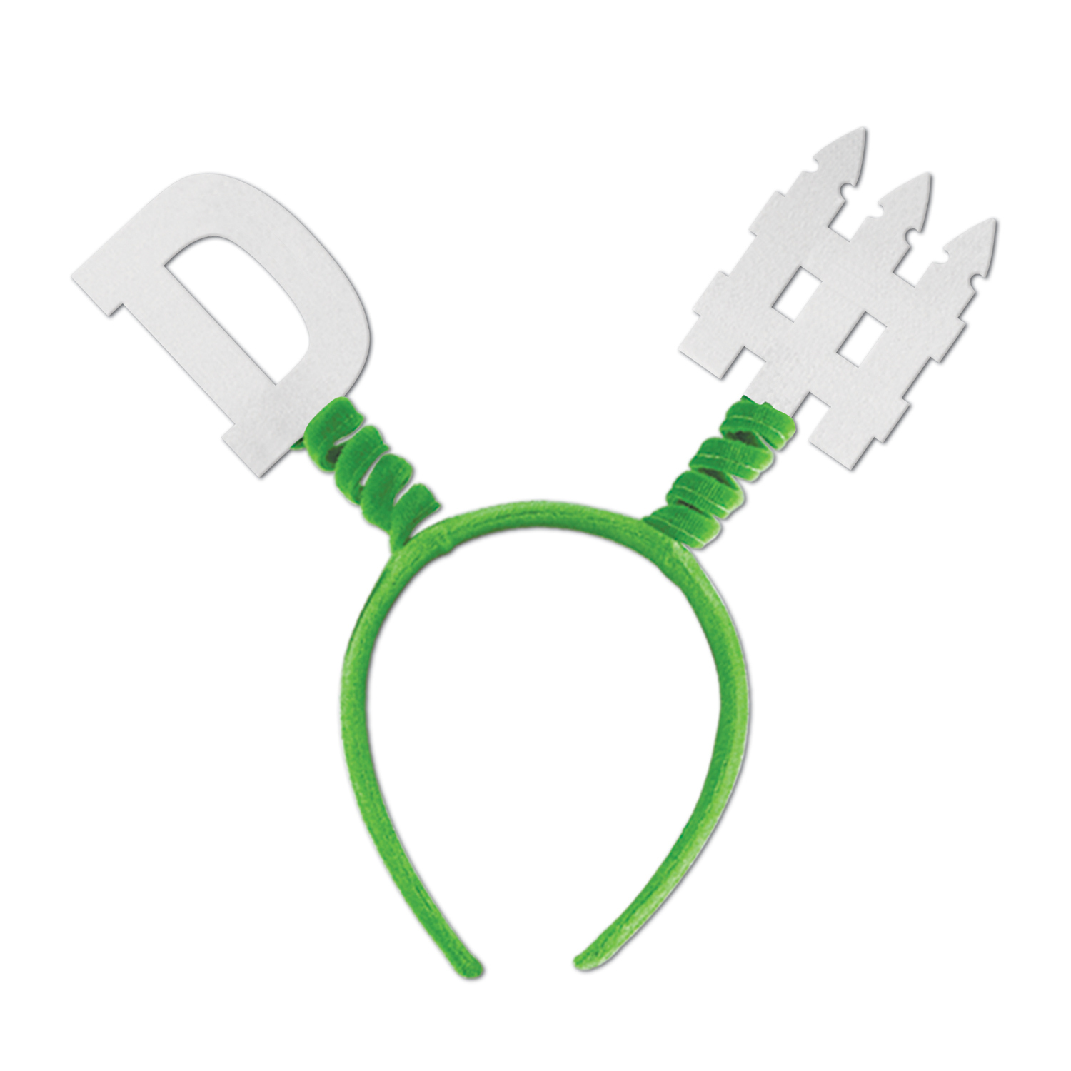green football headband with D Fence decals on the top