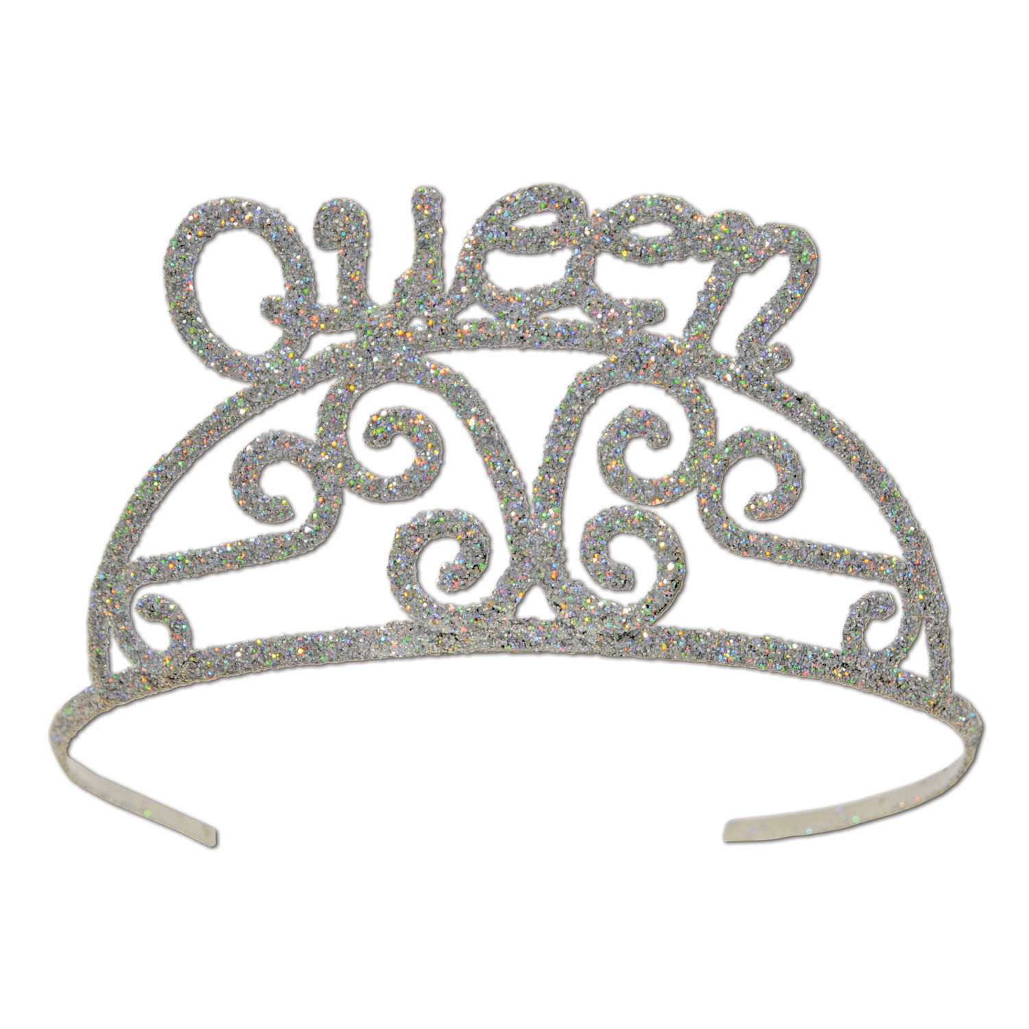 Silver plastic tiara covered in glitter with an authentic design and the word queen.