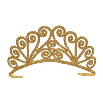 Gold plastic tiara covered in glitter with a swirly design.