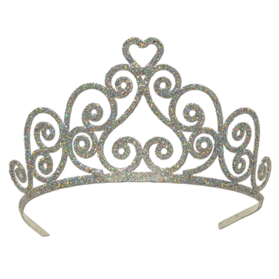 Silver plastic tiara with glitter and a swirl design.