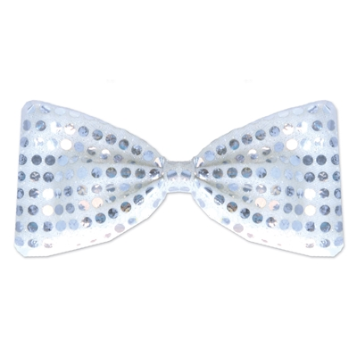 Silver material bow tie with sequines and an elastic attached.