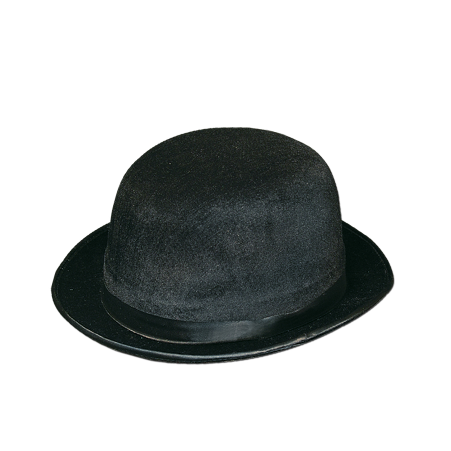 Plastic molded derby hat with velour coating and a silk like band.