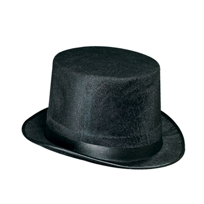 Velvet and felt black New Years Eve top hat.