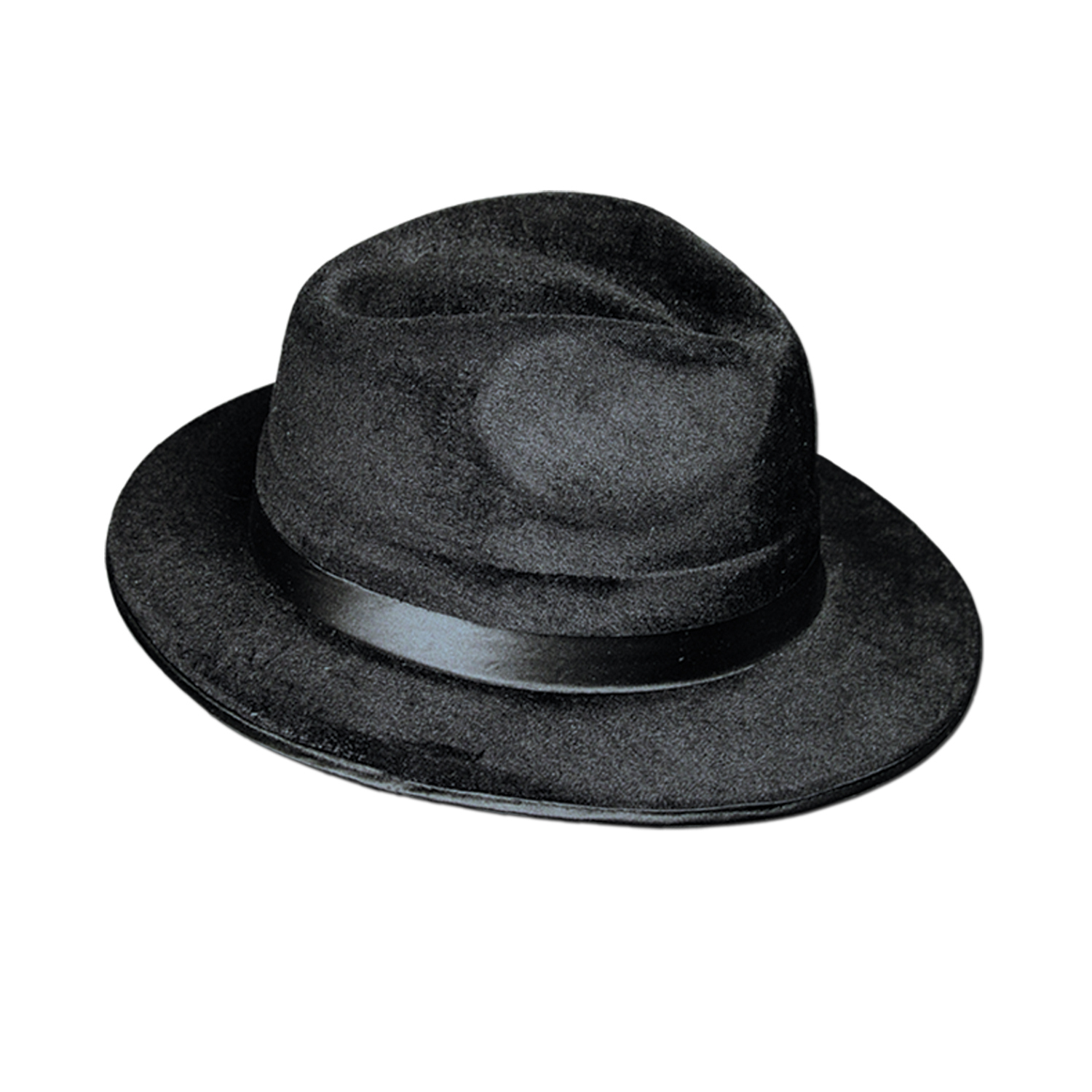 Plastic molded black fedora with a velour coating and a silk like band.