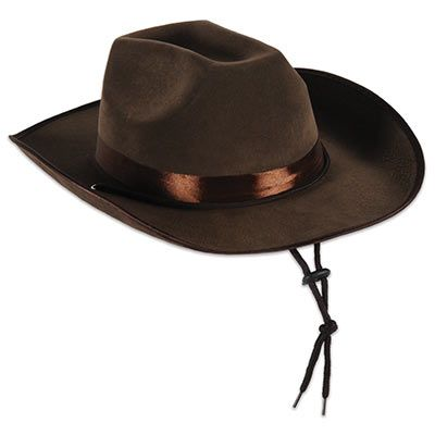 Faux brown leather western cowboy hat.